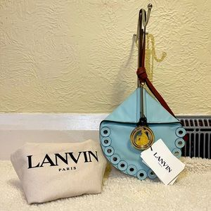 limited edition LANVIN toucan leather blue clutch